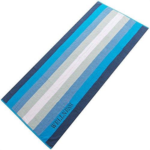 Aqua-textil - Toalla de rizo (80 x 200cm), diseño de rayas