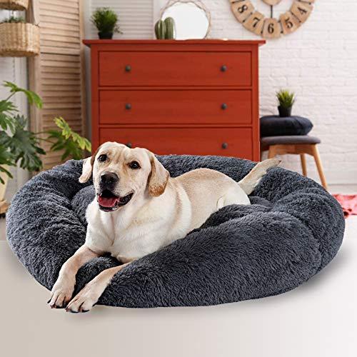 Fangqiyi Hundebett Flauschig Große Hunde, Sofa waschbar, Kissen Bett Rund Sofa Haustierbett, Rundes Plüsch Hundekissen Katzenbett in Doughnut-Form, für große und extra große Hunde,Dunkelgrau 100cm