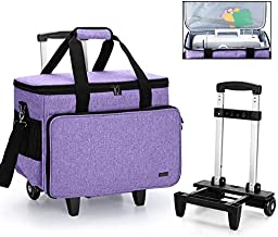 Yarwo Detachable Rolling Sewing Machine Carrying Case, Trolley Tote Bag with Removable Bottom Wooden Board for Most Standard Sewing Machine and Accessoriess, Purple