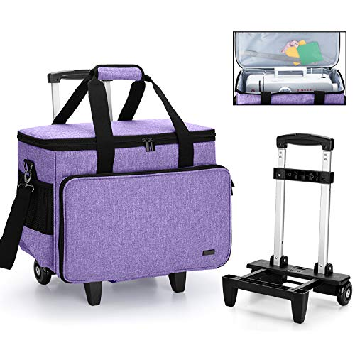 Fantastic Deal! Yarwo Detachable Rolling Sewing Machine Carrying Case, Trolley Tote Bag with Removable Bottom Wooden Board for Most Standard Sewing Machine and Accessoriess, Purple