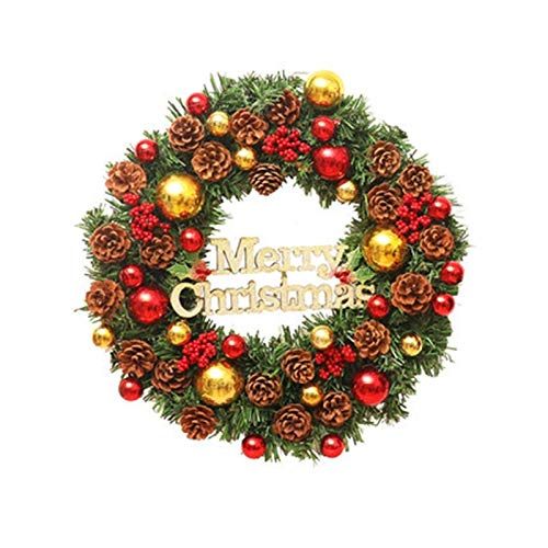 Wreath Lin Christmas, PVC Natural Pine Cone Berry Christmas Decoration, Gold Red Christmas Door Hanging (Size: 30cm/40cm/60cm) (Size : 30CM)