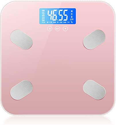 GLJJQMY Rechargeable Body Fat Scale Intelligent Electronic Weighing Scale Household Body Scale Electronic Scale (Color : Pink)