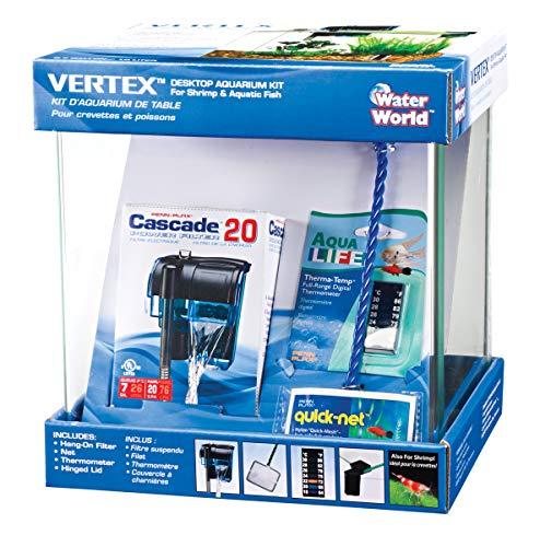 Penn-Plax Water-World Vertex Desktop Aquarium Kit - Perfect for Shrimp & Small Fish - 2.7 Gallon Tank