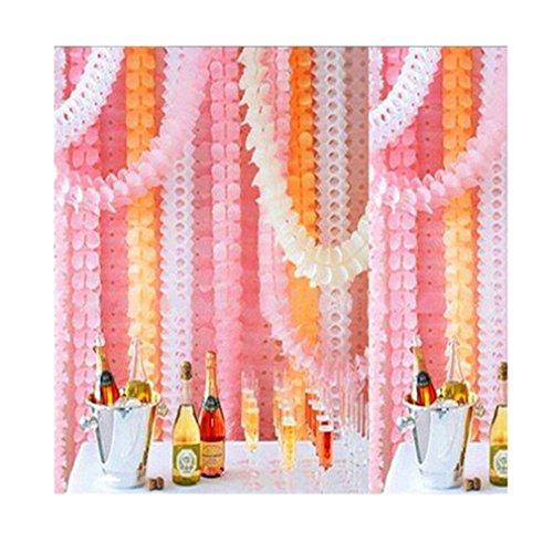 Lalang Hanging Clover Garland Four-Leaf Tissue Paper Flowers Wedding Paper Garland Party Decor 3.6M (Pink)
