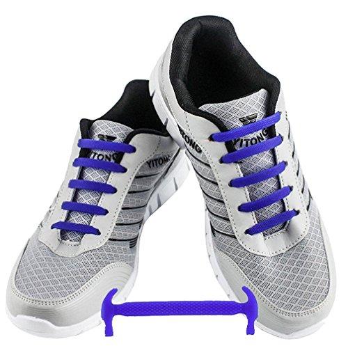 WELKOO® Elastische Schnürsenkel aus Silikon Ohne Schnürung Wasserdicht für Schuhe für Erwachsene 16 Stck. Farben blau