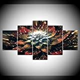 DGGDVP 5 Piezas/Set Modular Abstract Flowers Pictures Modern Wall Art Painting HD Impreso en Lienzo Home Decor Picture Wall Art Picture Size 2 Sin Marco