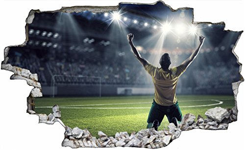 DesFoli Fussball Stadion Spielfeld 3D Look Wandtattoo 70 x 115 cm Wanddurchbruch Wandbild Sticker Aufkleber C415