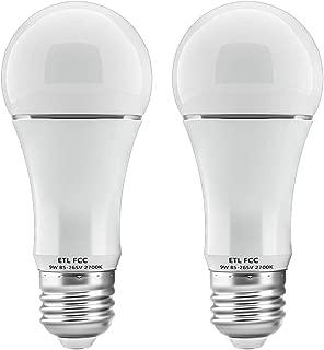 Dusk to Dawn Light Bulb 9W Auto On/Off Photocell Sensor Bulbs E26/E27 Base LED Security Bulbs for Porch Patio Garage by LUXON (Warm White, 2-Pack)