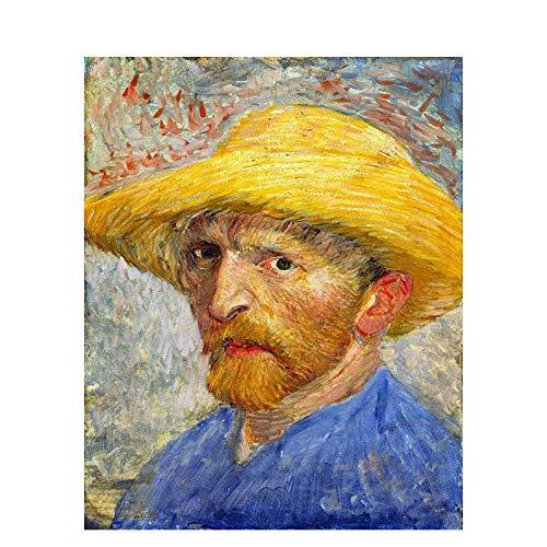 Digitaal schilderij om te knutselen, olieverfschilderij, decoratie, zelfgemaakt schilderwerk, canvas, 40 x 50 cm, abstracte man met strohoed Frameloos.
