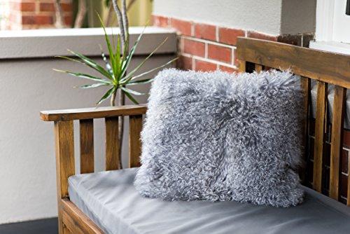 Naturally Sheepskins Echter 100% natürliches mongolisches Lammfell Kissenbezug, 50 x 50 cm, Grau