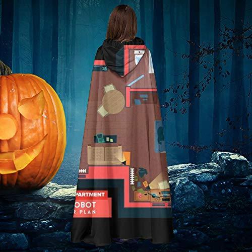 OJIPASD - Disfraz de Mr Robot Elliots para Disfraz, para Halloween, Bruja, Caballero con Capucha, Disfraz de Capa de Vampiro