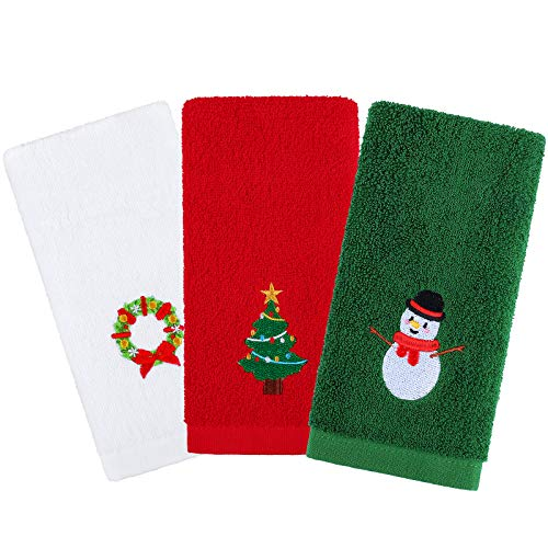 Aneco 3 Pack Christmas Hand Towels Washcloths 12 x 18 Inches 100% Pure Cotton Towels Bathroom Decorative Dish Towels Set, Christmas Pattern Design Christmas Towels Gift Set (Red, White, Green)