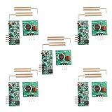 HALJIA, 5 pezzi, kit modulo trasmettitore ricevitore 433 MHz RF, senza fili, Compatibile con Arduino Raspberry Pi