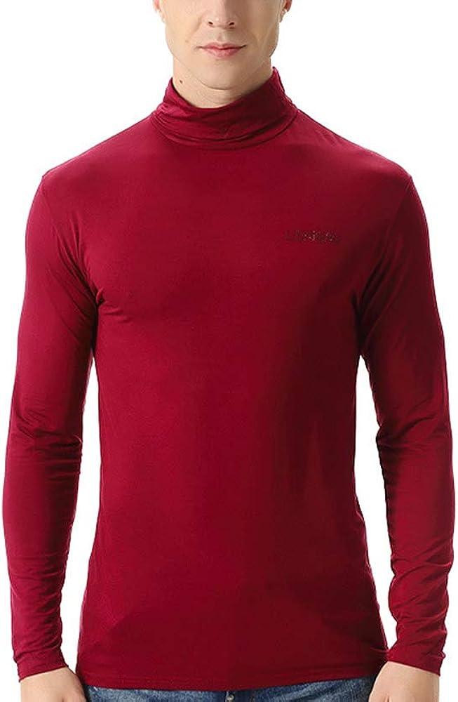 nuoshang Men's Cotton Turtleneck Long Sleeve Shirt Tops Plus Size Thermal Underwear
