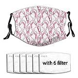 Zapatos de ballet rosa 6 filtros máscaras faciales con bucles reutilizables lavables ajustables