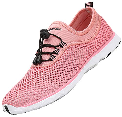 SAGUARO Aquaschuhe Damen Schuhe Leichte Sommerschuhe Mesh Freizeitschuhe Schnelltrocknend Badesandalen Herrenschuhe,Pink 38 EU