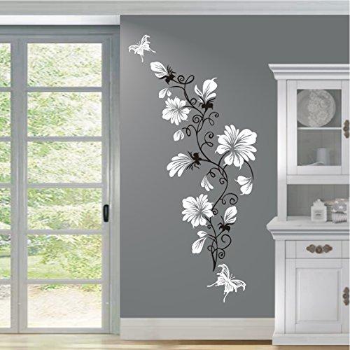 HomeTattoo ® WANDTATTOO Wandaufkleber Blumen Ranke 2 farbig Blumenranke Schmetterlinge 389 XL ( L x B) ca. 200 x 70 cm, Ranke schwarz / Blüten (weiss 010)
