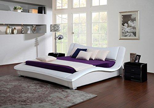 KAWOLA bed HEAVEN gestoffeerd bed wit, wit-zwart, zwart-wit, 140/160/200cm 160 wit