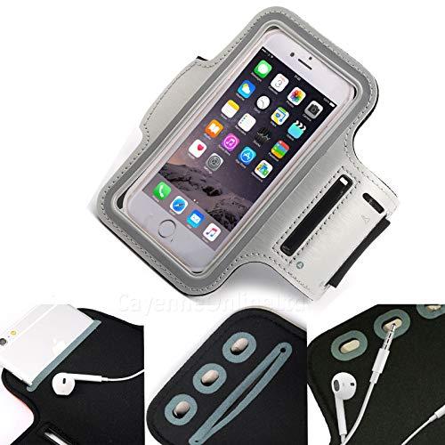 DOT. Soporte universal para teléfono celular, resistente al sudor, correr, deportes, gimnasio, brazalete, para ZTE Z557 o cualquier pantalla de hasta 5,1 pulgadas, soporte para llaves, correa ajustable, color gris