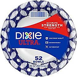 Dixie Ultra Paper Bowls, 20 Oz, Dinner or Lunch Size Printed Disposable Bowls, 52 Count (1 Pack of 5