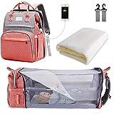 SNDMOR-Mochila para pañales de bebé de gran capacidad, para cuna de viaje, plegable, organizador de mochila para pañales de cuna multifuncional con cambiador de pañales(color rosa)