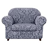subrtex Sofa Cover Couch Cover 2-Piece Jacquard Damask Slipcovers with Seat Cushion Stretch Furniture Protector Chair Covers for Living Room Kids, Pets(Small,Grayish Blue)