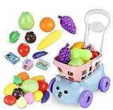 BeebeeRun Toys Shopping Cart Kids Pretend Play Food...