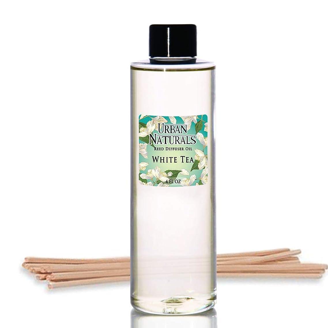 幅傀儡ポーチUrban Naturals ホワイトティーの香りのオイルリードディフューザー詰め替え リードスティックの無料セット付属 4オンス