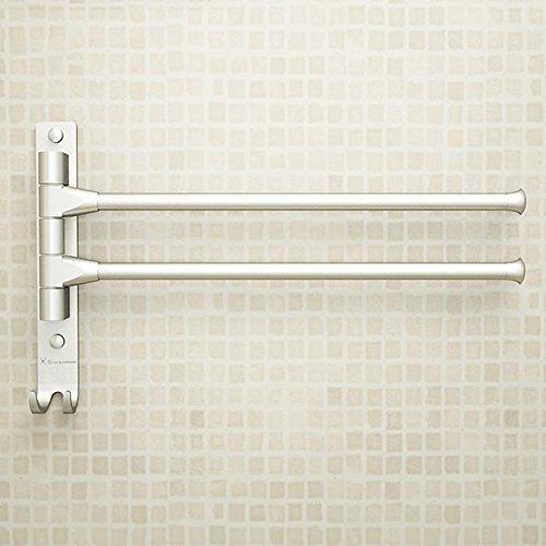 Toallero giratorio de aluminio sin perforaciones, barra para colgar toallas de baño, toallero de actividad, barra doble giratoria