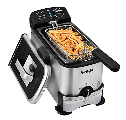 Venga! Semi-Professional Deep Fryer 3 L, Oil Filter & Container, 2000 W, Black/Silver, VG FR 3012 BS