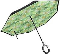 魚インバーサ傘抽象的な海洋動物オートオープンクローズポータブル逆傘屋外用-Style03-42.5x31.5インチ(108cm x 80cm)