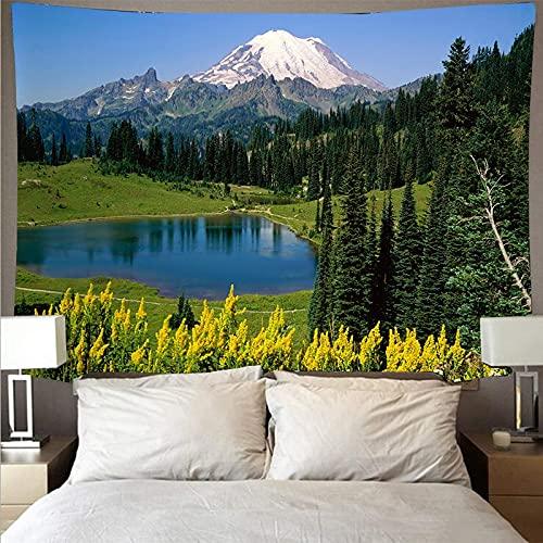 Montaña ondulada bosque lago paisaje tapiz arte psicodélico colgante de pared manta fina tapiz de yoga tela de fondo A3 73x95cm