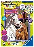 Ravensburger Malen nach Zahlen 28568 - Pferde im Sonnenuntergang - Für Kinder ab 9 Jahren -