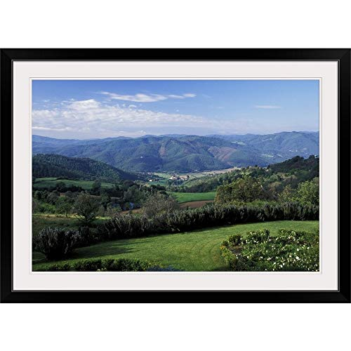 GREATBIGCANVAS Europe, Italy, Umbria, Perugia. Scenic Rolling Hills Black Framed Wall Art Print24 x16 x1