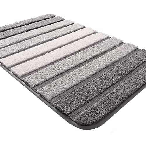 DEXI Tappeto Bagno,Tappetino Antiscivolo per Il Bagno,Soffice Tappeto da Bagno in Microfibra,Assorbente,Lavabile in Lavatrice,40 x 60 cm,Grigio