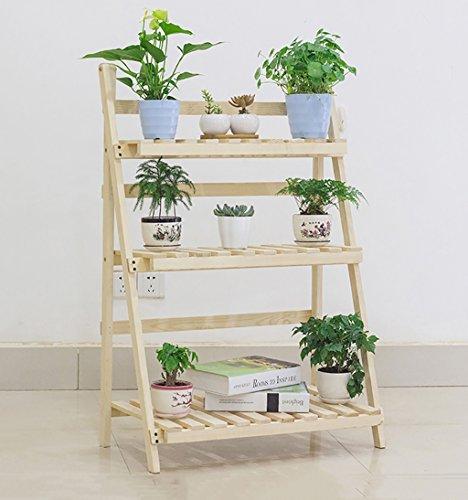 etagere plante Fleur Stand / 3 Tier Pliant Bois Stand Fleur Plante Pot Affichage Étagère Échelle Jardin Extérieur ( Couleur : 2 )