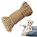 XinSa Cuerda de Sisal, Cuerda para Rascadores, Cuerda de Sisal Natural, Hilo de Sisal Multifuncional para Rascar Gatos, Flejes de Jardín, Manualidades de Bricolaje, (4 mm x 30 m)