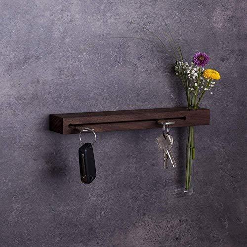 Woods Schlüsselbrett mit Vase I Nut - Schlüsselhalter modern I Wanddekoration aus Holzhandgefertigt in Bayern I Schlüsselboard Holz mit Reagenzglas I Schlüsselleiste mit Ablage 30cm Nuss-Holz