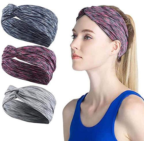 Edary Sports elastyczne opaski na głowę czerwone opaski na włosy nie ślizgają się opaski treningowe lekkie odprowadzające pot joga chusta do biegania akcesoria dla kobiet i mężczyzn (opakowanie 3)