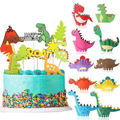 Kuchendeko Tiere Geburtstag, MMTX Tortendeko Dinosaurier 20 Stück Cake Topper Kuchendekoration Happy Birthday Girlande für Kinder Mädchen Junge Geburtstag Party Kuchen Dekoration