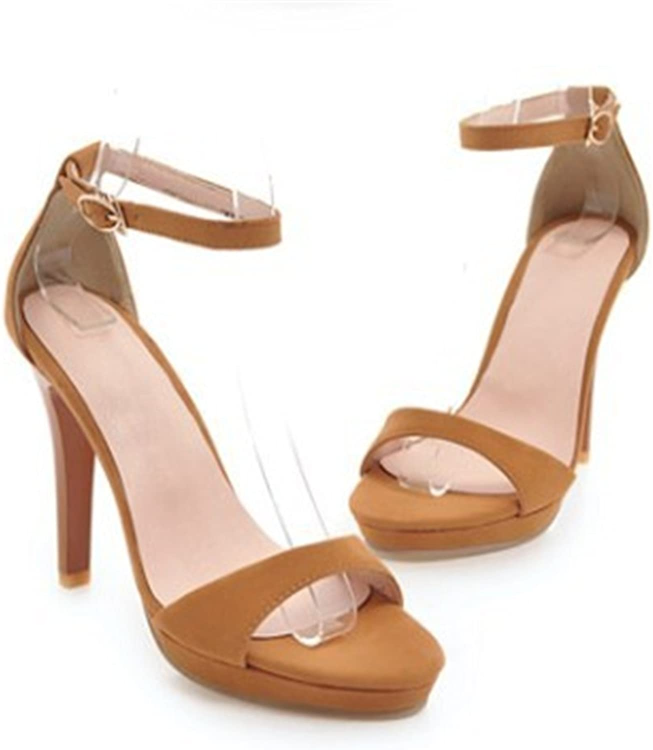 MEIREN sandal Meiren Europe and America Sexy Thin High Heel Sandals Ladies Ankle Strap Buckle High Heels Women's shoes Large Yellow