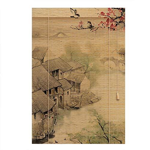 CHAXIA Persiana De Bambú Enrollable Llevado por Barco Impresión Cortina Colgante Persianas Luz De La Cubierta contra El Sol 2 Estilos, Tamaños Múltiples (Color : B, Size : 140cmx220cm)