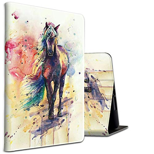Galaxy Tab A 10.1 Case 2019, Compatible for Samsung Tablet 10.1 Inch Cases SM-T510/ T515 Shockproof Multi-Angle Viewing Anti Slide Cover for Samsung Galaxy Tab 10.1,Watercolor Horse