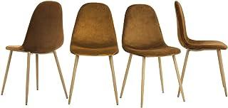 Yata Home – Juego de 4 sillas, 44 x 44 x 87 cm, color marrón antracita, tendencia escandinava, terciopelo, patas de metal, aspecto de madera, salón o dormitorio