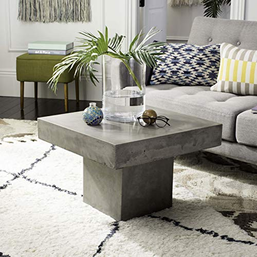 Safavieh VNN1016A Collection Tallen Dark Grey Indoor/Outdoor Modern Concrete 15.75' Coffee Table