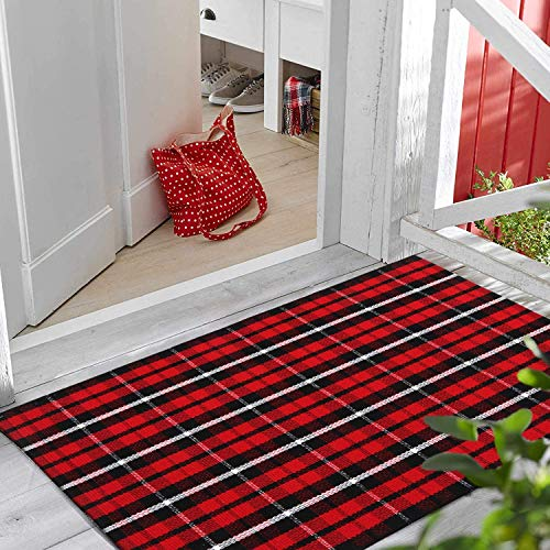 "LEEVAN Cotton Buffalo Plaid Rugs 24"" x 35"" Checkered Gingham Christmas Rug Washable Woven Outdoor Porch Welcome Door Mat for Layered Kitchen Farmhouse Bathroom Entryway Throw Carpet, Black and Red"