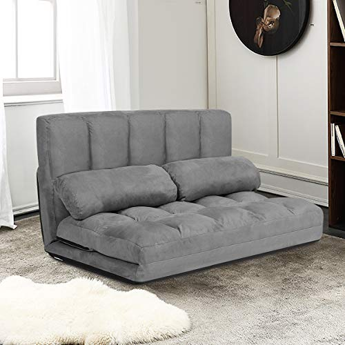 Giantex Adjustable Floor Sofa, Foldable Lazy Sofa Sleeper Bed 6-Position Adjustable, Suede Cloth Cover, Floor Gaming Sofa Couch with 2 Pillows for Bedroom/Living Room/Balcony (Gray)
