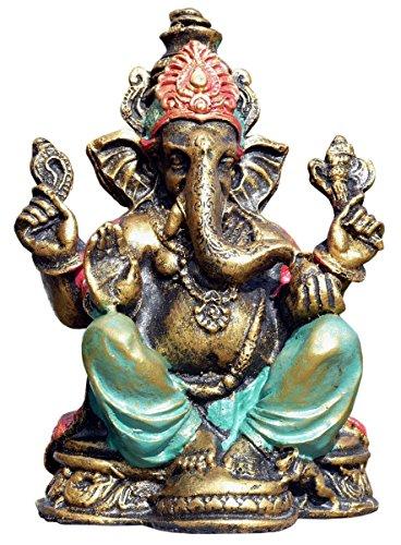 Schöner Ganesha bunt Elefantengott Gold Resin Elefant Buddhismus Bali Res20