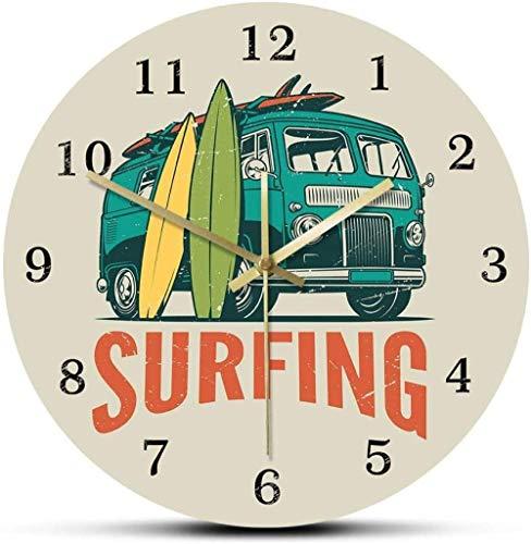 Reloj De Pared Tiempo De Surf Coche Antiguo Komby Camper Surf Reloj De Pared Viaje De Verano Furgoneta Y Tabla De Surf Surf Moderno Decoración del Hogar Reloj Silencioso 30X30 Cm