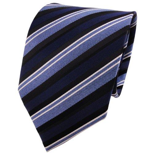 TigerTie XXL cravate en soie bleu argent noir rayé - cravate Tie 100% soie Silk